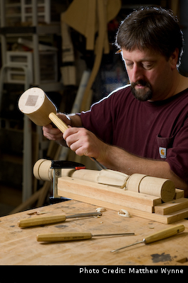 Image of Dwayne doing some custom hand carving